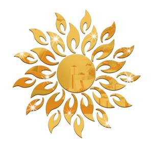 Sun Sunshine Round Mirror Removable DIY Acrylic 3D Wall Sticker for Bedroom - Gold Color
