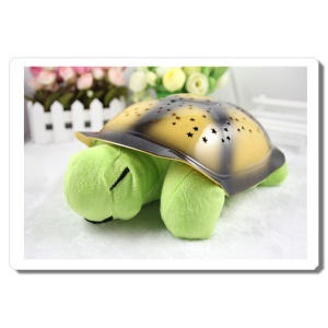 Fantastic USB Turtle Shape LED Night Light with Lullabies for Babies - Green