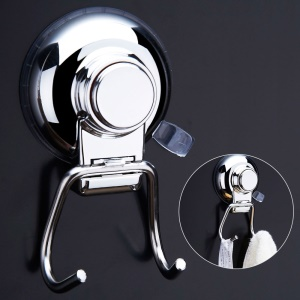 CW822 Double Hook Stainless Steel Suction Cup Holder for Bathroom