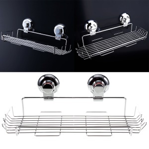 Dual Suction Cups Rectangular Basket for Bathroom or Kitchen Requisites CW813