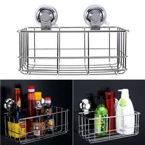 CW809 Rectangle Stainless Steel Suction Cup Storage Basket for Bathroom Kitchen