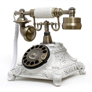 Retro Style Rotary Dial Home and Office Telephone 117AS - White / Bronze