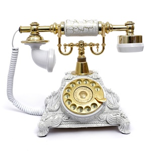 Retro Style Rotary Dial Home and Office Telephone 117AS - White / Gold