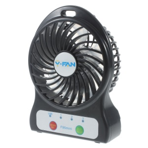 F95 Mini Portable 3 Speeds 7 Vanes Desktop USB Fan with LED Light - Black