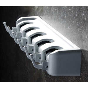 Mop Broom Holder Hooks Wall Rack Storage Mounted Organizer (5 Slots and 6 Hooks)