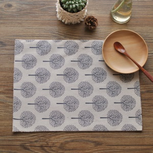 Tree Pattern Cotton Double Sides Basic Everyday Meal Napkin - Beige