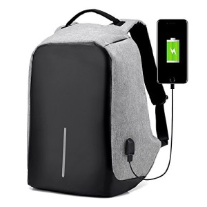 Water-Resistant Nylon Charging Backpack Anti-theft Bag for 15 inch Laptop - Light Grey
