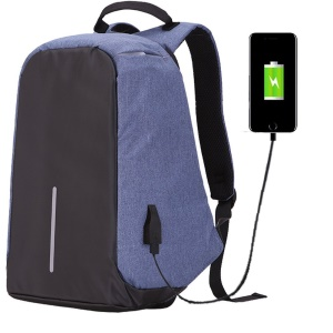 Multi-function Waterproof Nylon Charging Backpack Anti-theft Bag for 15 inch Notebook - Blue