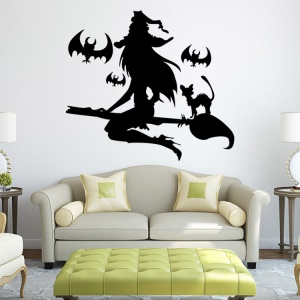 Halloween Witch Pattern Window Removable Decal Decoration Wall Sticker, Size: 42 x 52cm