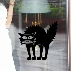 Halloween Horror Cat Pattern Window Removable Wall Stickers Removable Decal, Size: 42 x 41cm