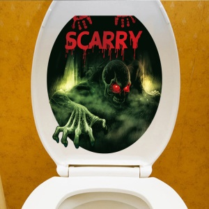 Environmental Halloween Scary Skeleton Toilet Seat Adhesive Decal Wall Sticker Living Room Bedroom Removable Wall Decal