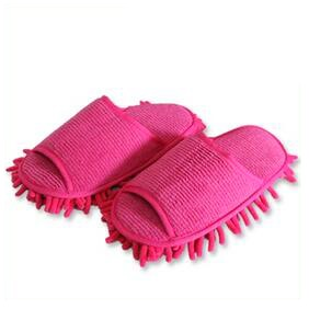Household Chenille Floor Dust Cleaning Mop Slippers Easy Clean Open Toe Indoor Shoes - Rose