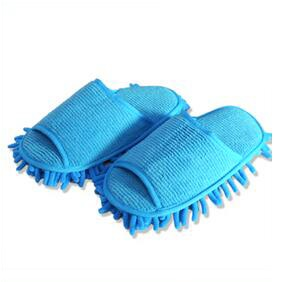 Household Chenille Floor Cleaning Mop Slippers Lazy House Floor Polishing Slippers - Blue