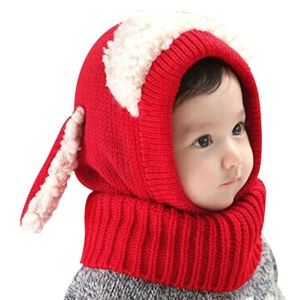 Baby Girls Boys Knitted Winter Hat Scarf Soft Earflap Hood Scarves Cute Puppy Hat - Red