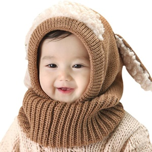 Warm Knitted Winter Hat Scarf Soft Earflap Hood Scarves Cute Puppy Hat for Baby Girls Boys - Brown