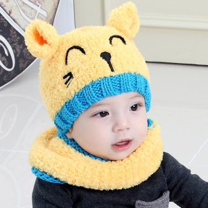 Cute Cat Shape Soft Plush Hat + Scarf Two Pieces Set for Baby Boys and Girls - Yellow