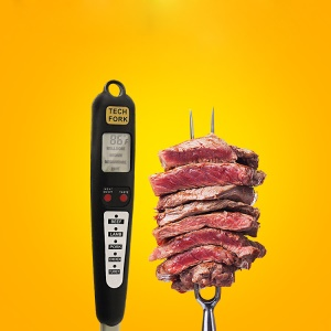 Instant Read Food Meat Long Fork Digital Thermometer mit LCD-Bildschirm für Grillen Barbecue Kochen