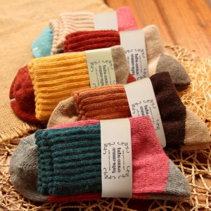 (5 packs) Women's Winter Comfortable Multicolor Soft Wool Warm Socks, One Size (5-9)