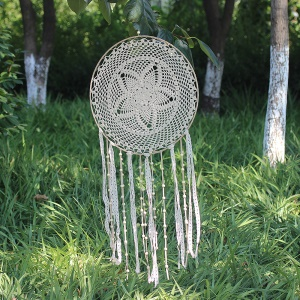 Circular Tassel Dream Catcher Wall Hanging Decoration Decor Craft for Bedroom Car  Party Etc. - Light Coffee