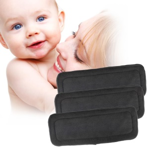 5PCS/Pack Baby Reusable Soft 4 Layers Bamboo Charcoal Cloth Diapers Inserts, Size: 33 x 14cm