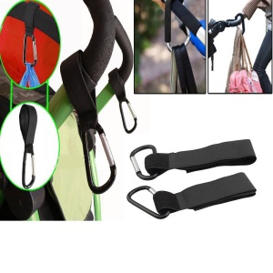 2 PCS Firm Velcro + Aluminium Alloy Stroller Hook for Pram Baby Carriage