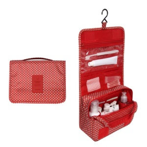 Hanging Toiletry Bag Makeup Pouch Travel Organizer - Classic Red