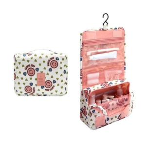 Hanging Toiletry Bag Makeup Pouch Travel Organizer - Smiley Pink