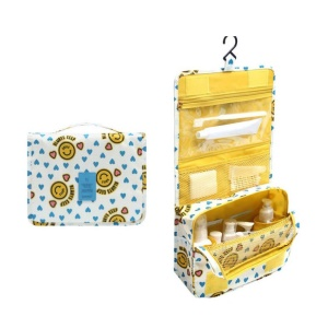 Hanging Toiletry Bag Makeup Pouch Travel Organizer - Smiley Yellow