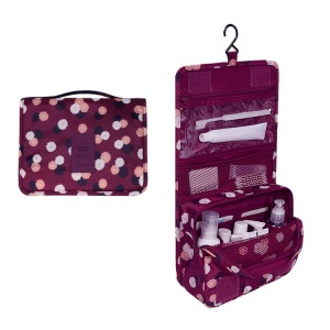 Hanging Toiletry Bag Makeup Pouch Travel Organizer - Daisy Purple