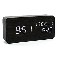 GREEN TIME LED Voice Control Wood Alarm Clock with Calendar Temperature Time Display - Black