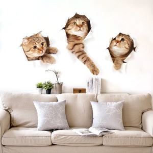 3D Window View Cat Breaking Into Wall PVC Wall Sticker Mural Wallpaper Decal Home Decoration