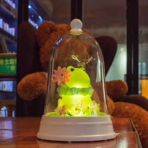 Touch Control Dimmable Night Light Cute Frog Bedside Lamp USB Powered LED Table Lamp - Warm White