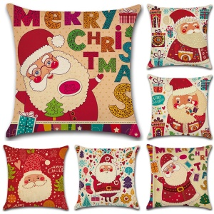 Christmas Santa Claus Square Pattern Cotton Throw Pillow Case Pillow Cover, Size: 45 x 45cm