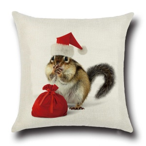 Christmas Pattern Sofa Cushion Linen Copertura Throw Pillow Copertura Square Pillow Case - Squirrel