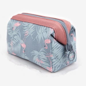 Multi-functional Cosmetic Bag Travel Makeup Bag Travel Toiletry Kit Organizer - Sky Blue / Flamingos