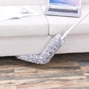 Flexible Bendable Microfiber Feather Duster with Extension Pole - Grey