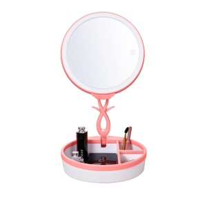 Touch Control Dimmable LED Makeup Mirror Foldable Cosmetic Organizer Mirror - Pink