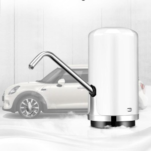 Wireless Electric Water Pump Rechargeable Drinking Bucket Bottled Water Dispenser for Home Outdoor - White