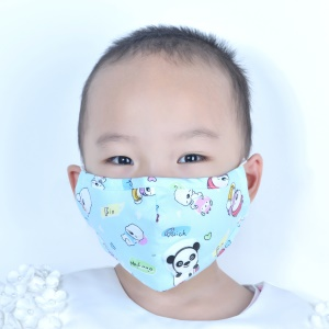 DEVIA Dust-proof Breathing Mask Washable Antibacterial Mask with Breathing Valve - Baby Blue / Cartoon Pattern