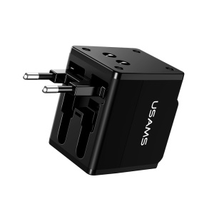 USAMS US-CC044 T2 US/AU/EU/UK 4-in-1 Adapter Dual USB Universal Travel Charger for iPhone Samsung Huawei