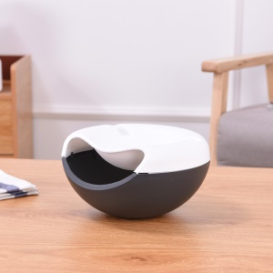 Double Round Shape Desktop Candy Seeds Storage Box with Cellphone Stand Holder - White / Black