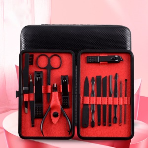 15 in 1 Stainless Steel Professional Manicure Set Pedicure Kit with Black Travel Case