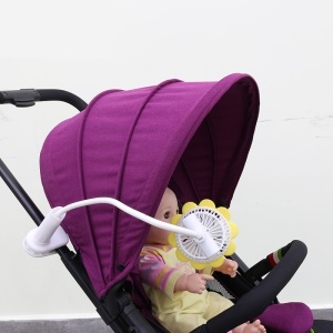 Sunflower Shape Clip Baby Stroller Fan USB Rechargeable Cooling Fan with Flexible Neck Adjustable Speed