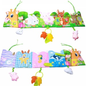 Multifunctional Colorful Cartoon Pattern Cute Multi-touch Cloth Book Reversible Baby Bed Curtain Ornament - Style 1