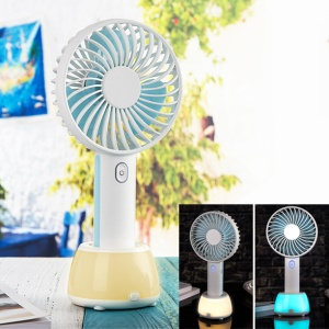 2000mAh Mini Portable USB Cooling Fan 3 Adjustable Speeds Handheld Mini Fan with Atmosphere Lamp - Baby Blue
