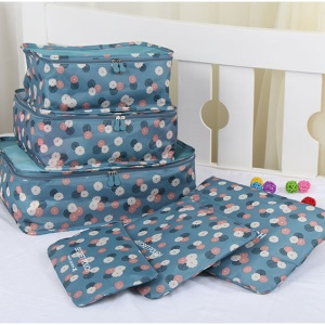TRAVEL SEASON 6Pcs Set Travel Essential Storage Pouches Bags Organizer - Blue Floral
