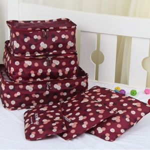 TRAVEL SEASON 6Pcs Set Travel Essential Storage Pouches Bags Organizer - Wine Red Floral