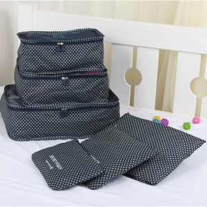 TRAVEL SEASON 6Pcs Set Travel Essential Storage Pouches Bags Organizer - Navy Blue Stars