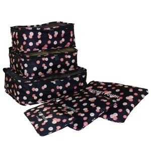 TRAVEL SEASON 6Pcs Set Travel Essential Storage Pouches Bags Organizer - Navy Blue Floral