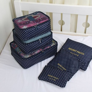 TRAVEL SEASON 6Pcs Set Travel Essential Storage Pouches Bags Organizer - Navy Blue Polka Dots